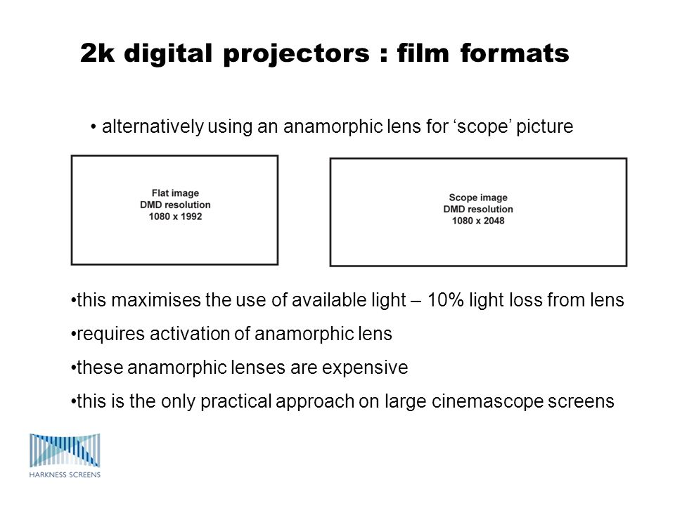 2k digital projectors : film formats alternatively using an anamorphic lens for scope picture this maximises the use of available light – 10% light lo