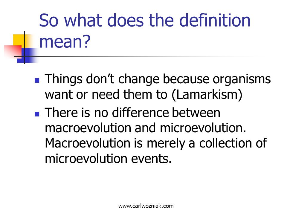 www.carlwozniak.com Definition problems Part of the problem is that a number of different definitions for evolution can be found both within and without the scientific community.