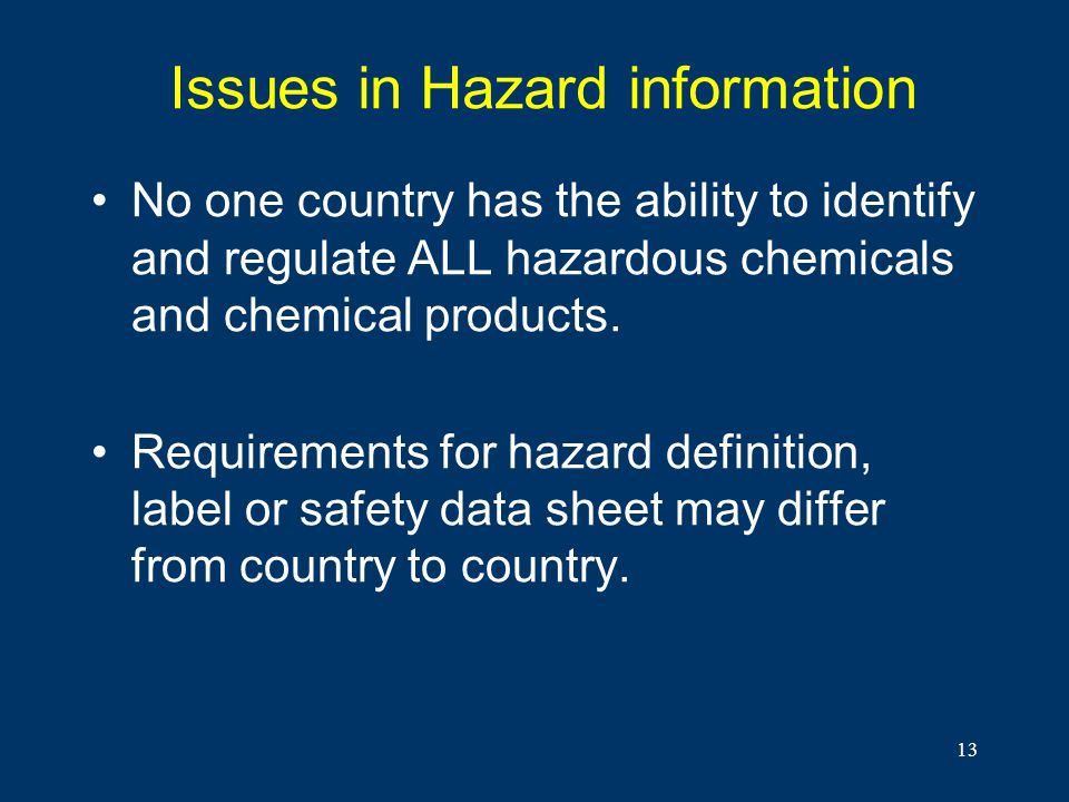 13 Issues in Hazard information No one country has the ability to identify and regulate ALL hazardous chemicals and chemical products. Requirements fo