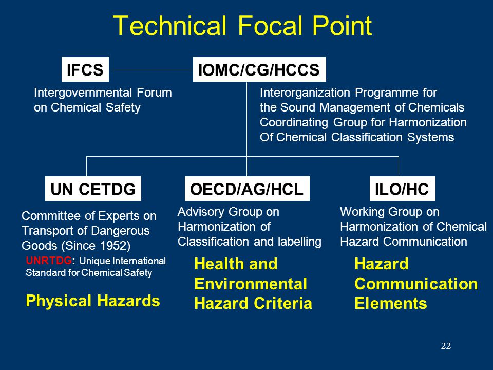 22 Technical Focal Point IFCSIOMC/CG/HCCS OECD/AG/HCLILO/HCUN CETDG Intergovernmental Forum on Chemical Safety Interorganization Programme for the Sou