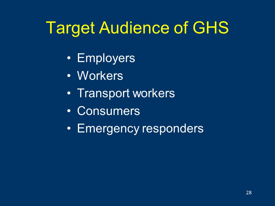28 Target Audience of GHS Employers Workers Transport workers Consumers Emergency responders