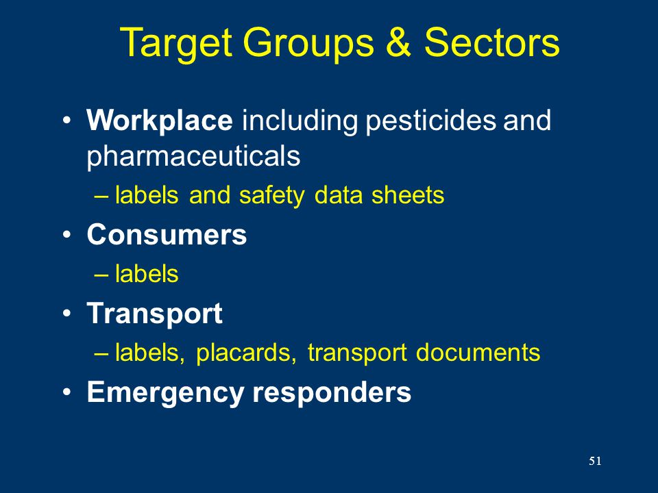 51 Target Groups & Sectors Workplace including pesticides and pharmaceuticals –labels and safety data sheets Consumers –labels Transport –labels, plac