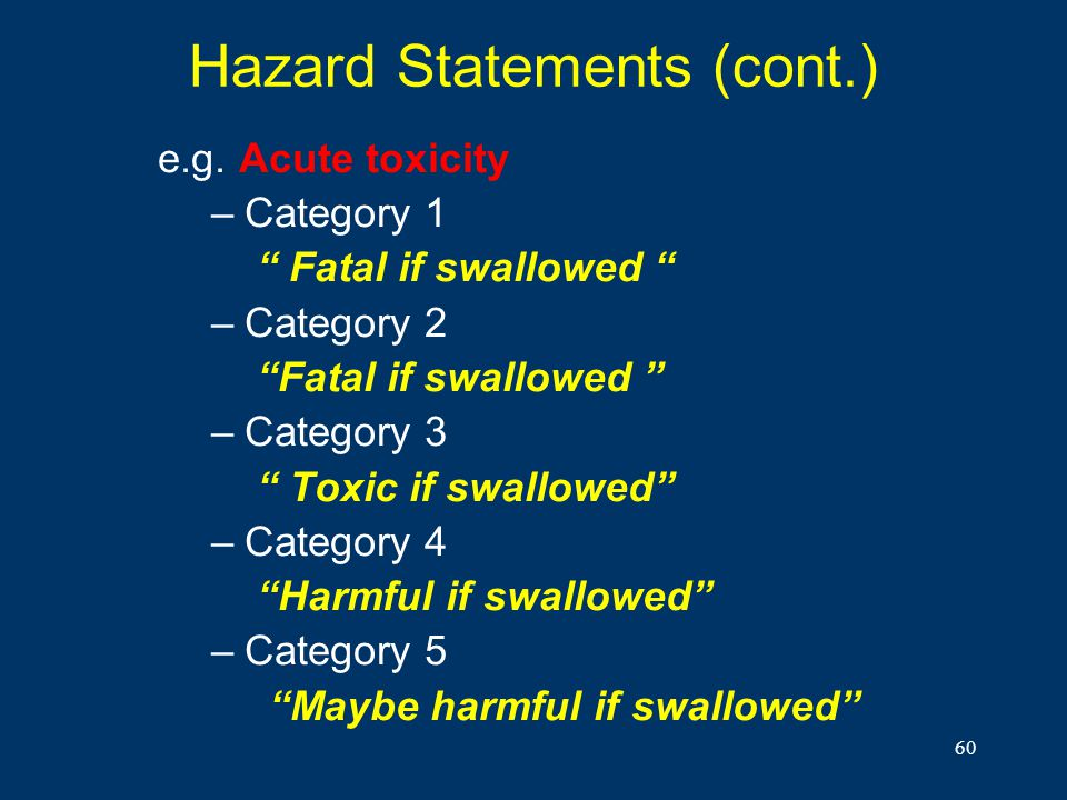 60 Hazard Statements (cont.) e.g. Acute toxicity –Category 1 Fatal if swallowed –Category 2 Fatal if swallowed –Category 3 Toxic if swallowed –Categor