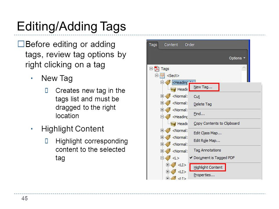 45 Editing/Adding Tags Before editing or adding tags, review tag options by right clicking on a tag New Tag ÷Creates new tag in the tags list and must be dragged to the right location Highlight Content ÷Highlight corresponding content to the selected tag