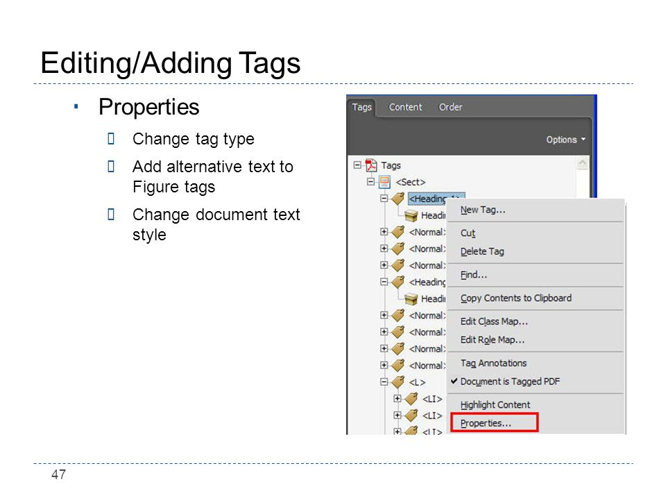 47 Editing/Adding Tags Properties ÷Change tag type ÷Add alternative text to Figure tags ÷Change document text style