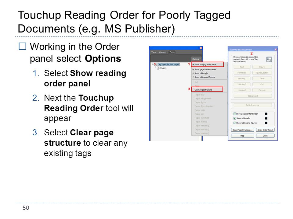 50 Touchup Reading Order for Poorly Tagged Documents (e.g.