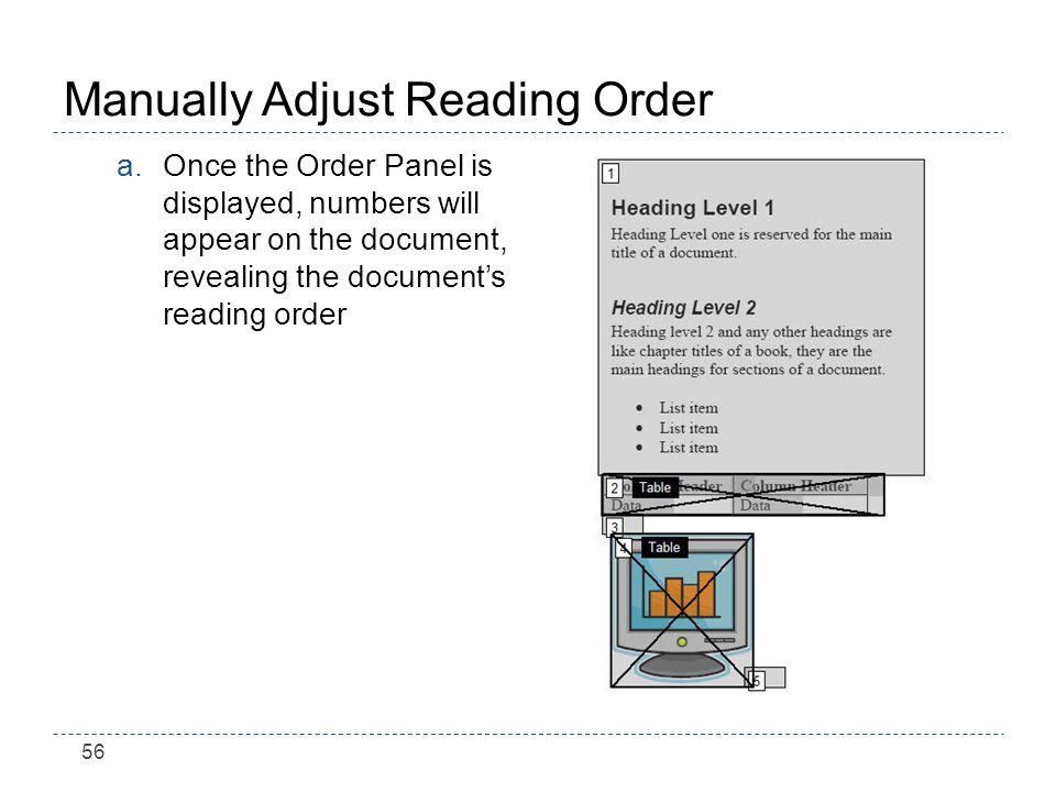 56 Manually Adjust Reading Order a.Once the Order Panel is displayed, numbers will appear on the document, revealing the documents reading order