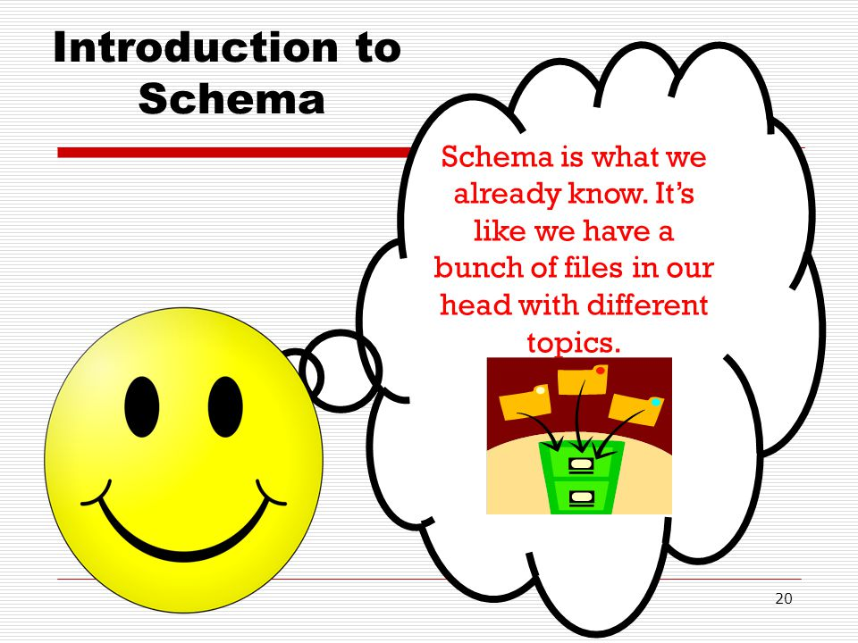 20 Introduction to Schema Schema is what we already know. Its like we have a bunch of files in our head with different topics.