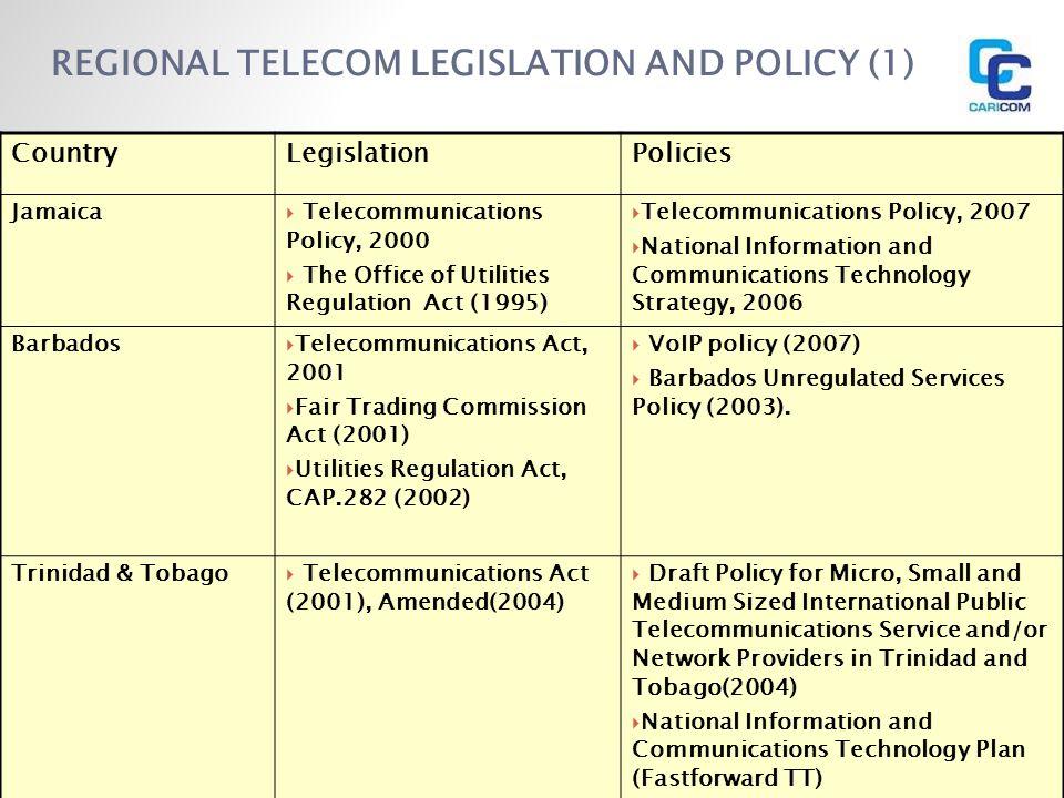 REGIONAL TELECOM LEGISLATION AND POLICY (1) CountryLegislationPolicies Jamaica Telecommunications Policy, 2000 The Office of Utilities Regulation Act