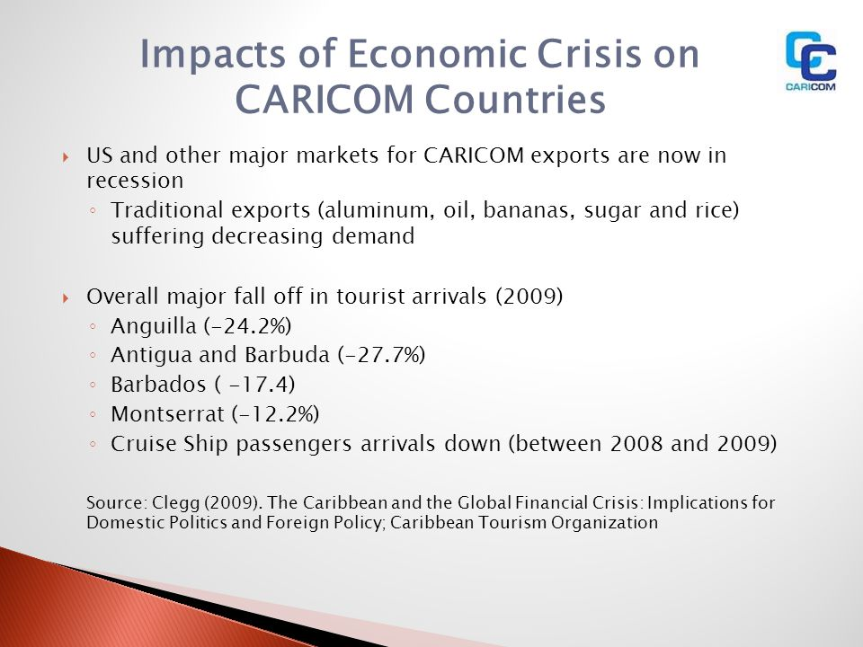 Impacts of Economic Crisis on CARICOM Countries US and other major markets for CARICOM exports are now in recession Traditional exports (aluminum, oil