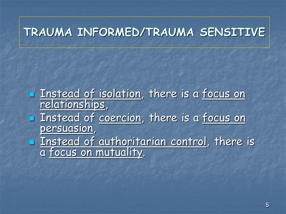 5 TRAUMA INFORMED/TRAUMA SENSITIVE Instead of isolation, there is a focus on relationships, Instead of isolation, there is a focus on relationships, I