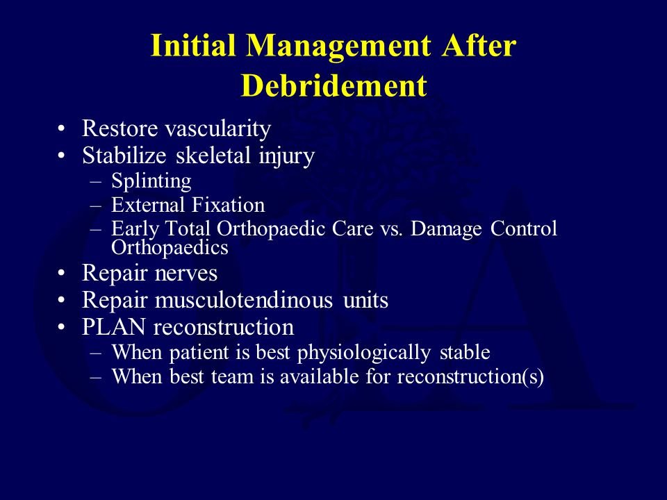 Initial Management After Debridement Restore vascularity Stabilize skeletal injury –Splinting –External Fixation –Early Total Orthopaedic Care vs. Dam