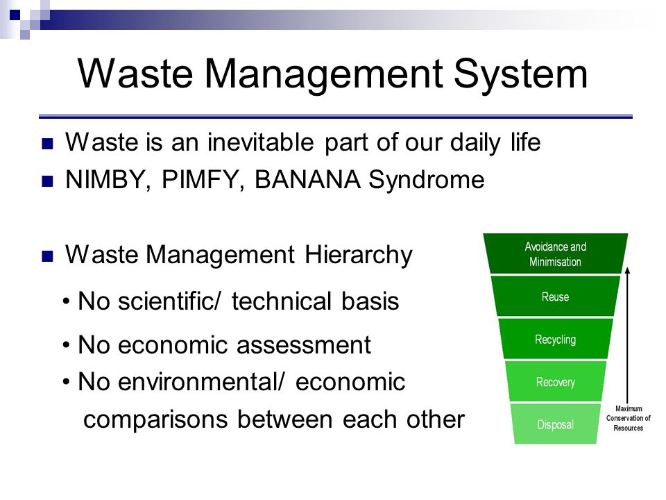 Four stages in LCA Goal and scoping Impact Assessment Improvement Assessment Inventory Analysis Source: SETAC 1999 Life Cycle Assessment for Waste Management
