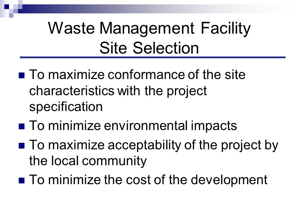 Factors Influencing Waste Management Options