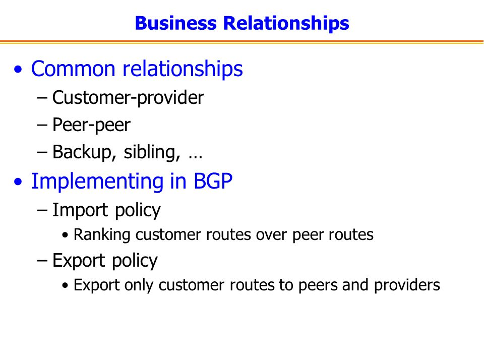 Business Relationships Common relationships –Customer-provider –Peer-peer –Backup, sibling, … Implementing in BGP –Import policy Ranking customer rout