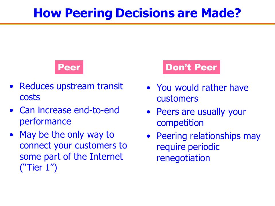 How Peering Decisions are Made? Reduces upstream transit costs Can increase end-to-end performance May be the only way to connect your customers to so