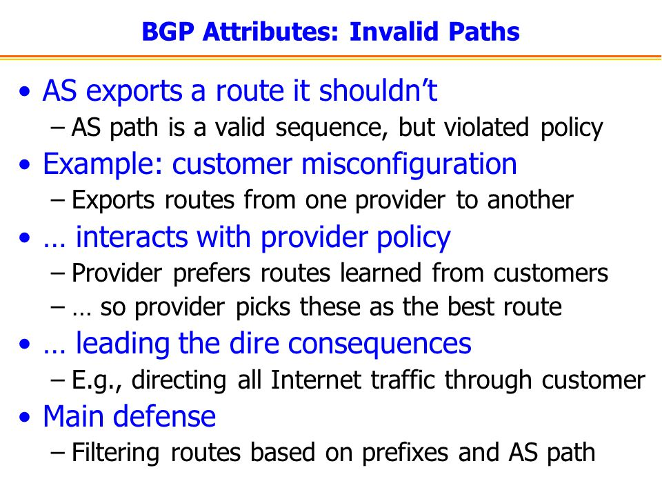 BGP Attributes: Invalid Paths AS exports a route it shouldnt –AS path is a valid sequence, but violated policy Example: customer misconfiguration –Exp