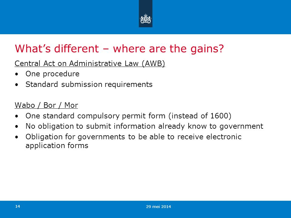 14 Whats different – where are the gains? Central Act on Administrative Law (AWB) One procedure Standard submission requirements Wabo / Bor / Mor One