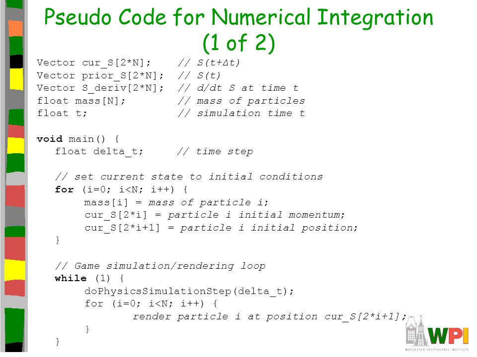 Pseudo Code for Numerical Integration (1 of 2) Vector cur_S[2*N]; // S(t+Δt) Vector prior_S[2*N]; // S(t) Vector S_deriv[2*N]; // d/dt S at time t flo