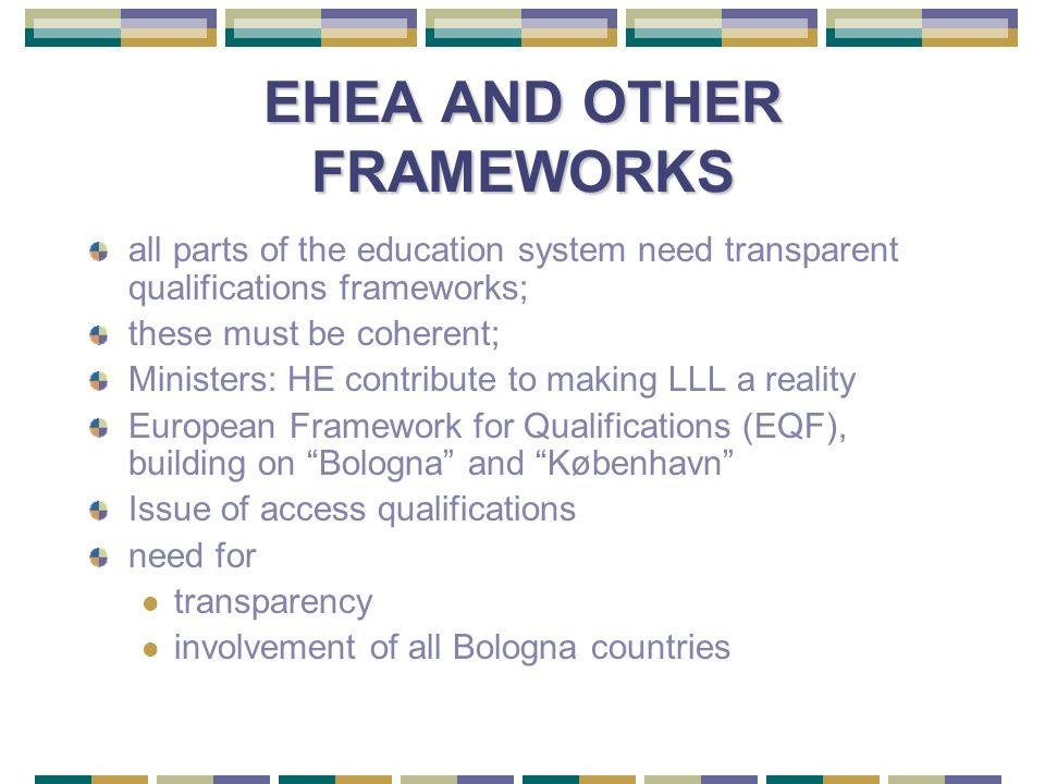 EHEA AND OTHER FRAMEWORKS all parts of the education system need transparent qualifications frameworks; these must be coherent; Ministers: HE contribute to making LLL a reality European Framework for Qualifications (EQF), building on Bologna and København Issue of access qualifications need for transparency involvement of all Bologna countries