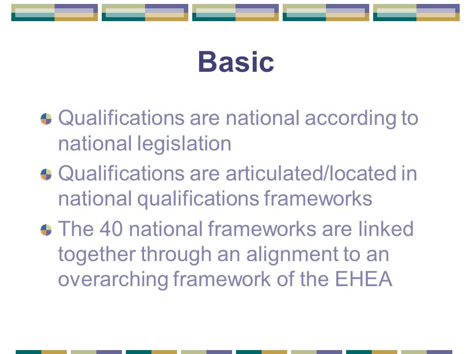 Basic Qualifications are national according to national legislation Qualifications are articulated/located in national qualifications frameworks The 40 national frameworks are linked together through an alignment to an overarching framework of the EHEA