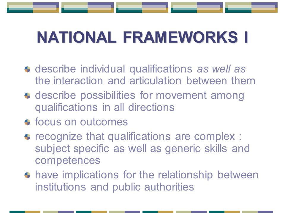NATIONAL FRAMEWORKS I describe individual qualifications as well as the interaction and articulation between them describe possibilities for movement among qualifications in all directions focus on outcomes recognize that qualifications are complex : subject specific as well as generic skills and competences have implications for the relationship between institutions and public authorities