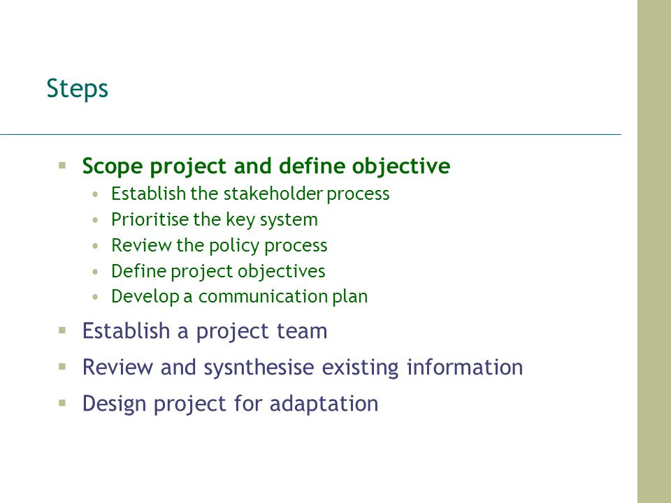 Steps Scope project and define objective Establish the stakeholder process Prioritise the key system Review the policy process Define project objectiv