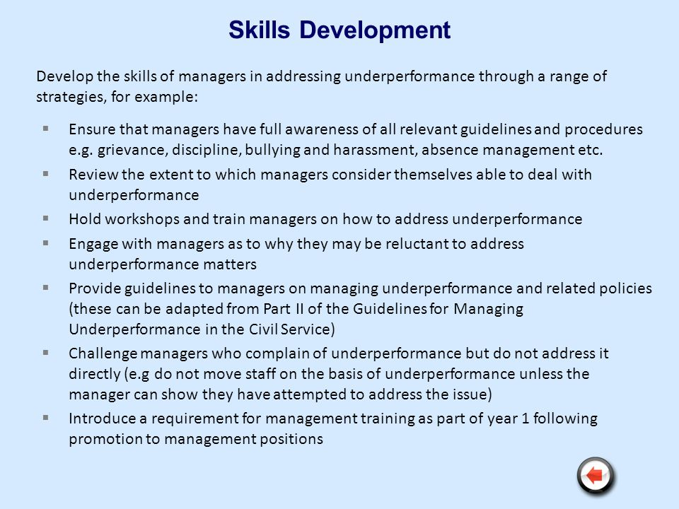 Skills Development Ensure that managers have full awareness of all relevant guidelines and procedures e.g. grievance, discipline, bullying and harassm