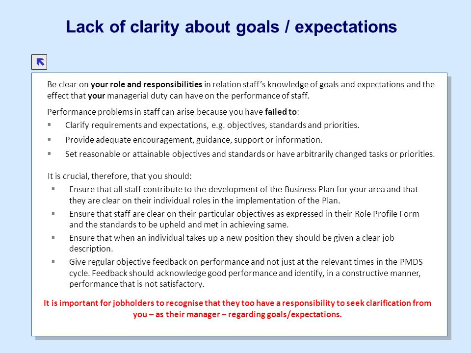 Lack of clarity about goals / expectations Be clear on your role and responsibilities in relation staffs knowledge of goals and expectations and the e