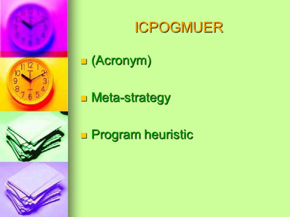 ICPOGMUER (Acronym) (Acronym) Meta-strategy Meta-strategy Program heuristic Program heuristic