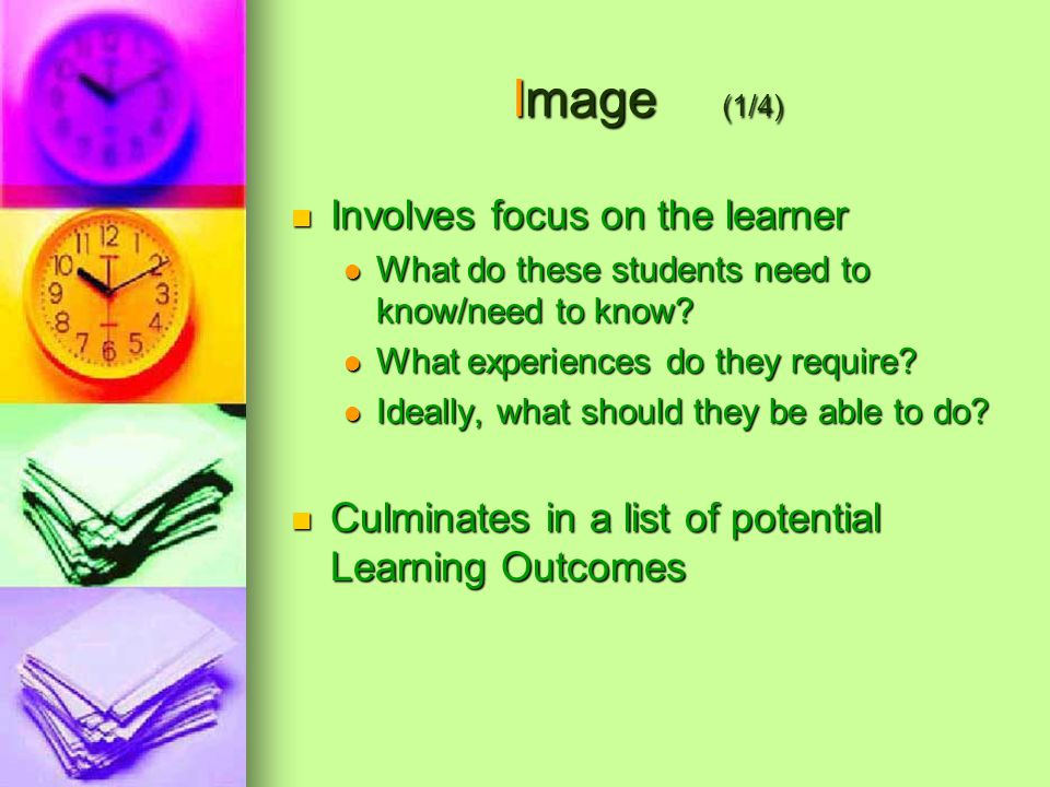 Image (1/4) Involves focus on the learner Involves focus on the learner What do these students need to know/need to know.