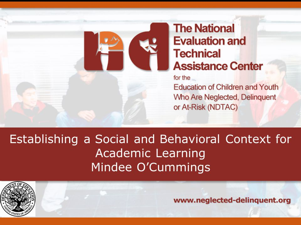 Establishing a Social and Behavioral Context for Academic Learning Mindee OCummings