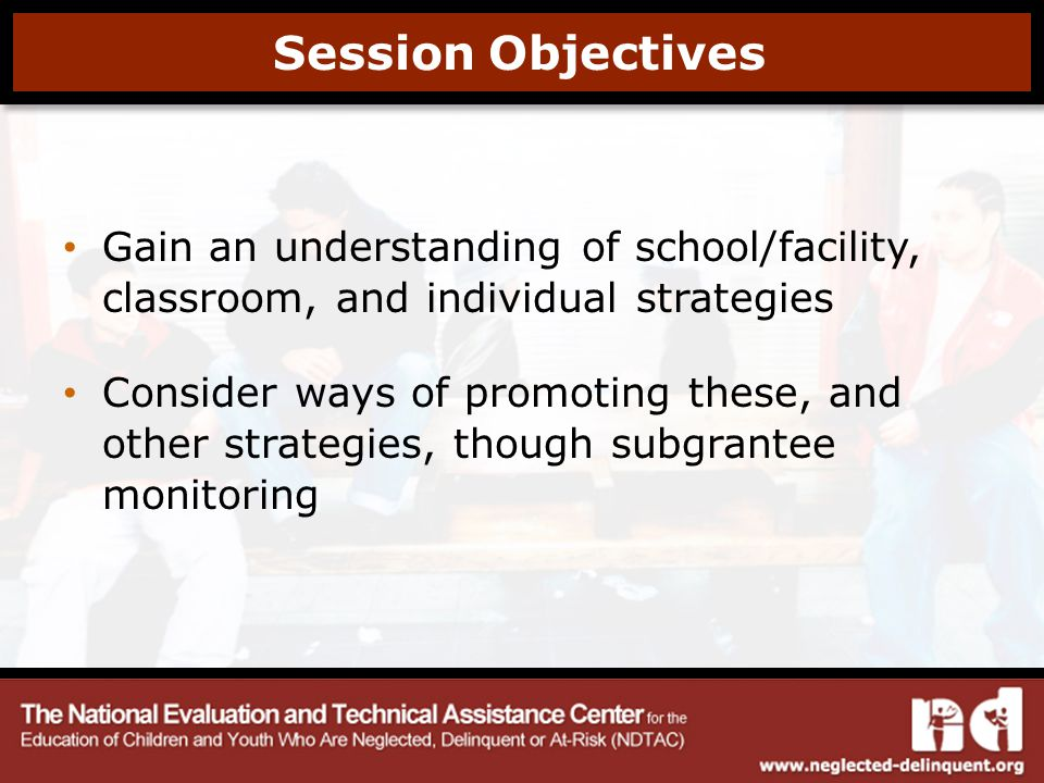 Session Objectives Gain an understanding of school/facility, classroom, and individual strategies Consider ways of promoting these, and other strategies, though subgrantee monitoring