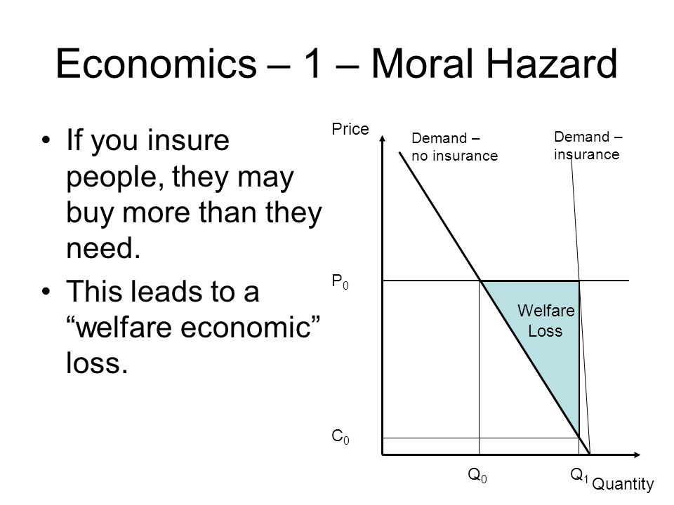 Welfare Loss Economics – 1 – Moral Hazard If you insure people, they may buy more than they need.