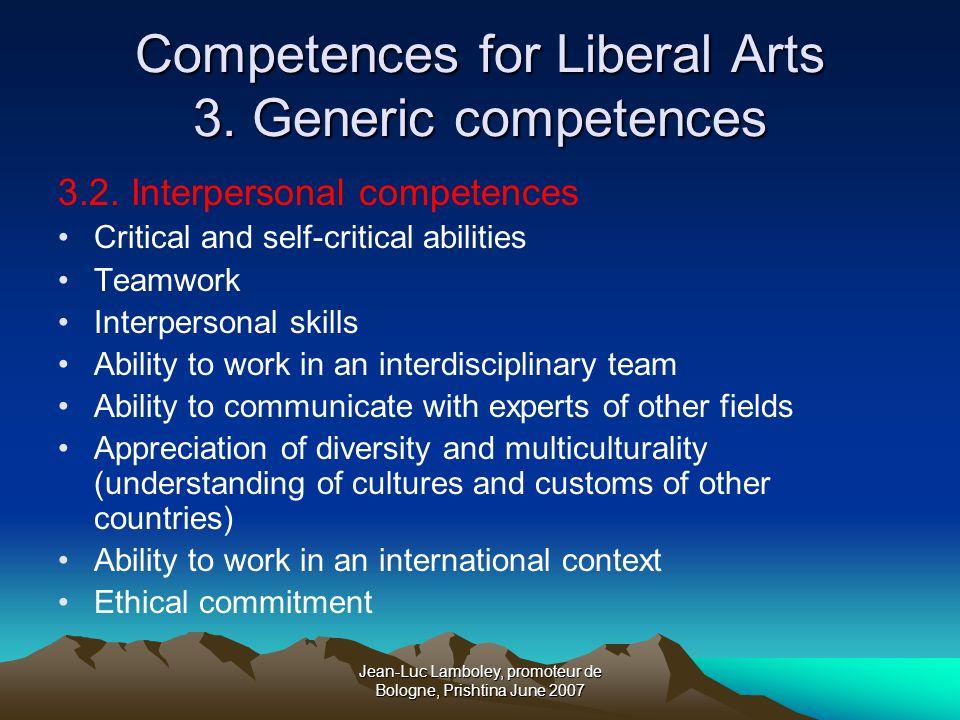Jean-Luc Lamboley, promoteur de Bologne, Prishtina June 2007 Competences for Liberal Arts 3.