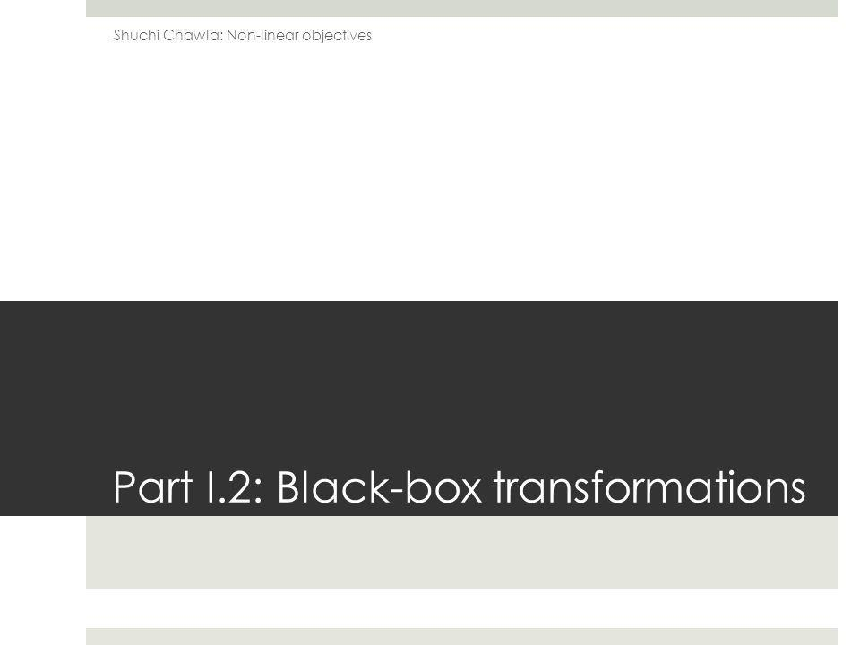 Part I.2: Black-box transformations Shuchi Chawla: Non-linear objectives