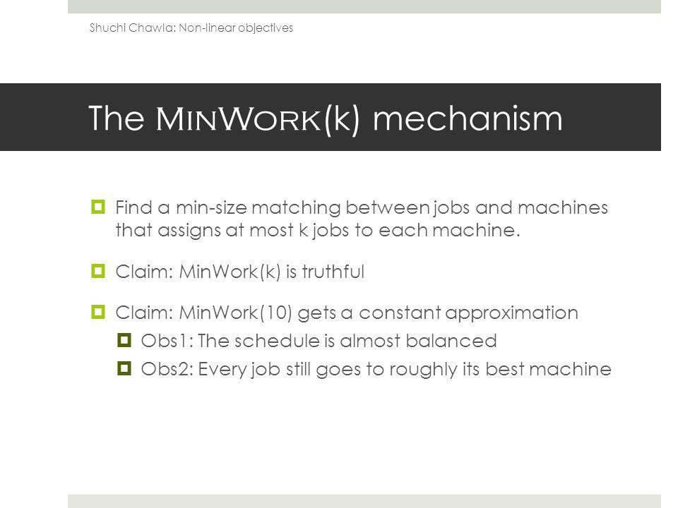 The MinWork (k) mechanism Find a min-size matching between jobs and machines that assigns at most k jobs to each machine.