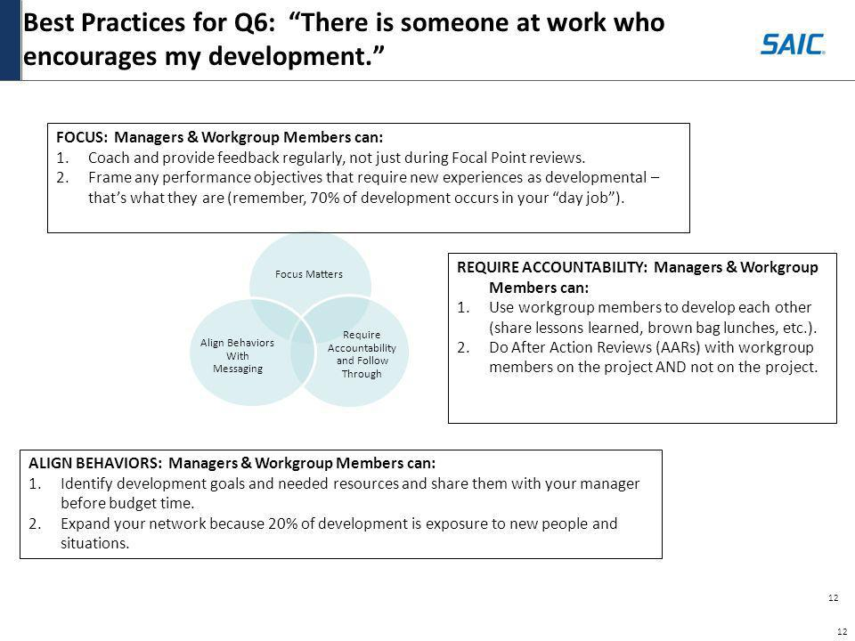12 Best Practices for Q6: There is someone at work who encourages my development. 12 FOCUS: Managers & Workgroup Members can: 1.Coach and provide feed