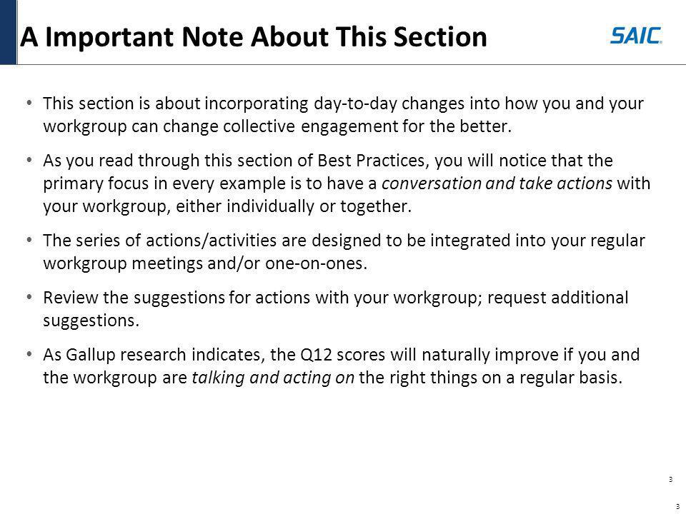 3 3 A Important Note About This Section This section is about incorporating day-to-day changes into how you and your workgroup can change collective e