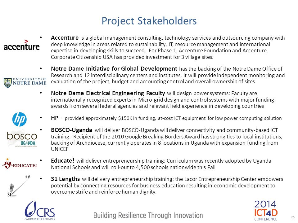 Project Stakeholders Accenture is a global management consulting, technology services and outsourcing company with deep knowledge in areas related to sustainability, IT, resource management and international expertise in developing skills to succeed.
