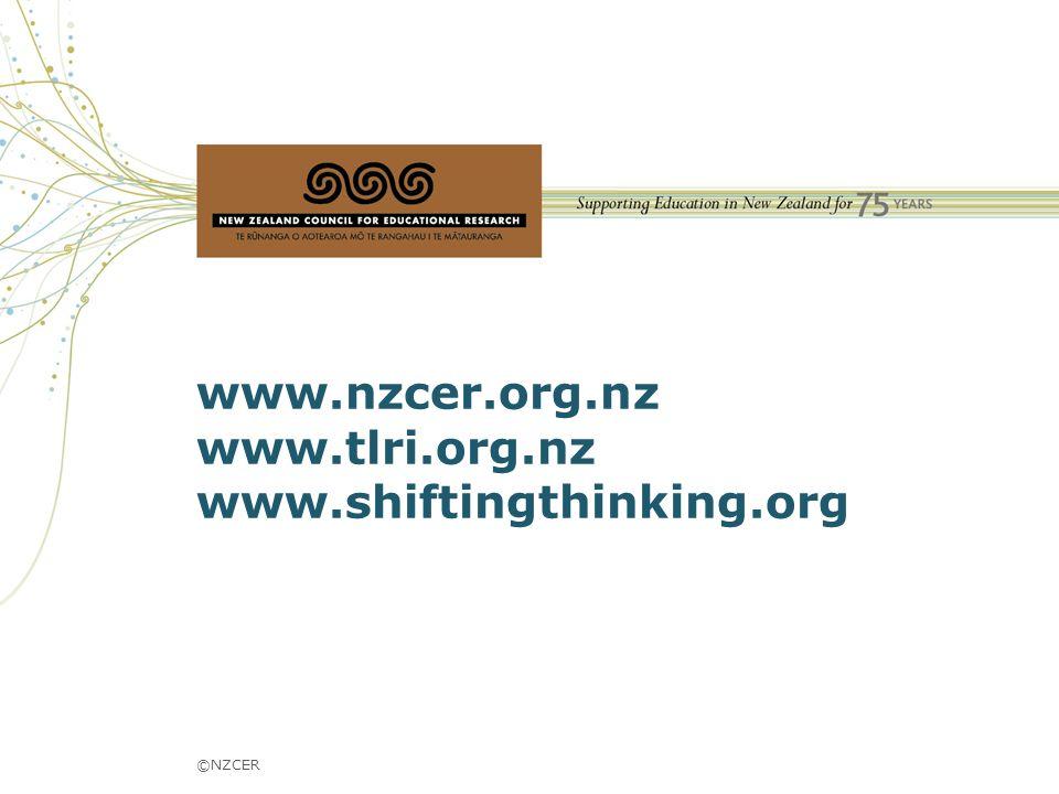 www.nzcer.org.nz www.tlri.org.nz www.shiftingthinking.org ©NZCER