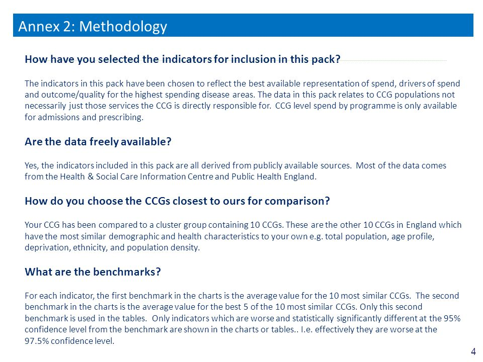 4 Annex 2: Methodology 4 How have you selected the indicators for inclusion in this pack.