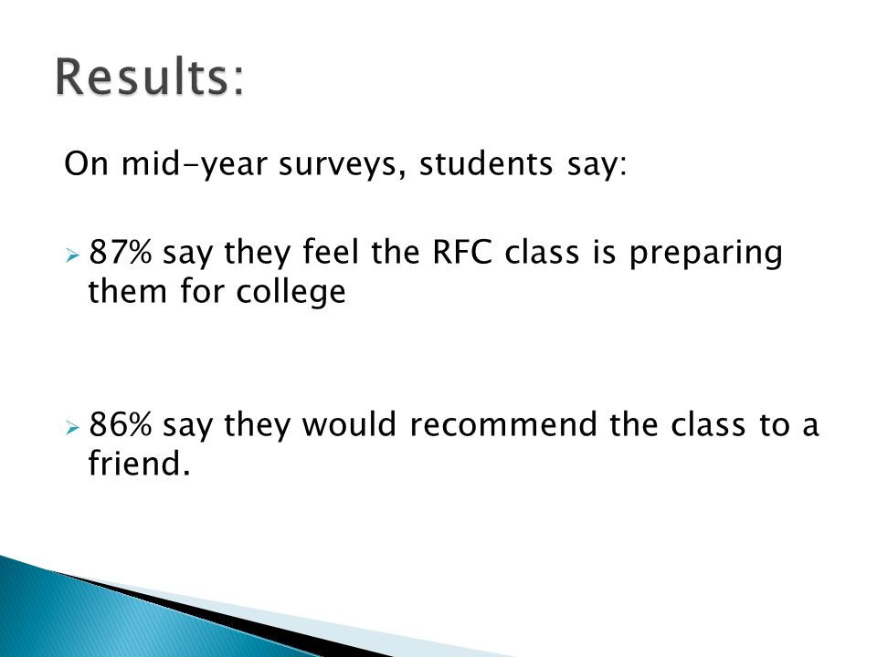 On mid-year surveys, students say: 87% say they feel the RFC class is preparing them for college 86% say they would recommend the class to a friend.