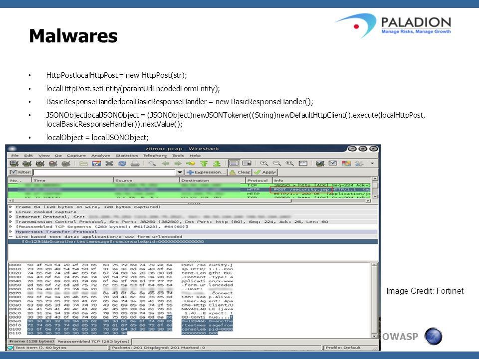 OWASP Malwares HttpPostlocalHttpPost = new HttpPost(str); localHttpPost.setEntity(paramUrlEncodedFormEntity); BasicResponseHandlerlocalBasicResponseHandler = new BasicResponseHandler(); JSONObjectlocalJSONObject = (JSONObject)newJSONTokener((String)newDefaultHttpClient().execute(localHttpPost, localBasicResponseHandler)).nextValue(); localObject = localJSONObject; Image Credit: Fortinet