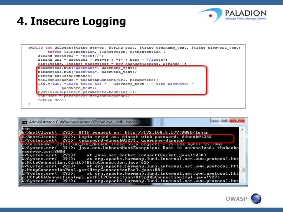 OWASP 4. Insecure Logging