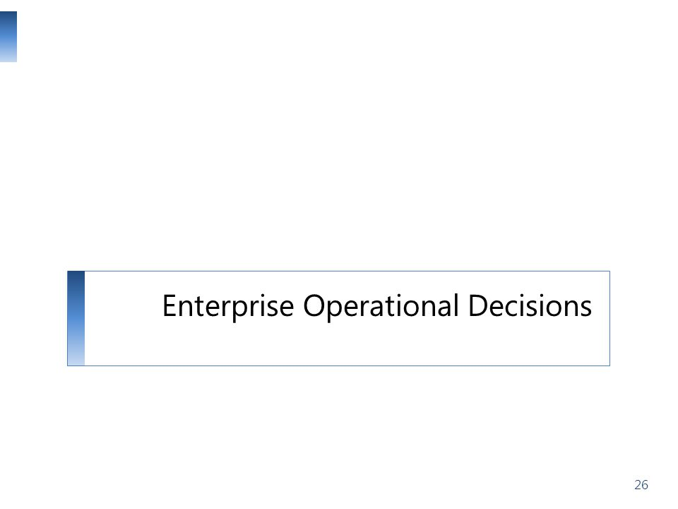 Enterprise Operational Decisions 26