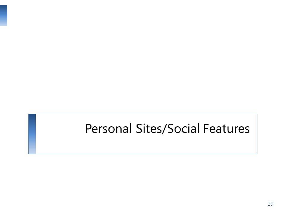 Personal Sites/Social Features 29