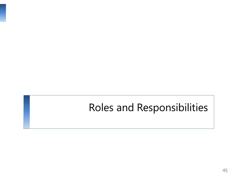Roles and Responsibilities 45
