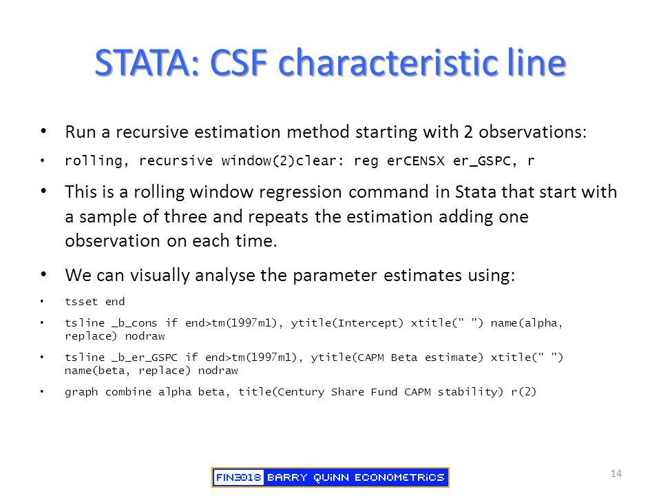 STATA: CSF characteristic line Run a recursive estimation method starting with 2 observations: rolling, recursive window(2)clear: reg erCENSX er_GSPC,
